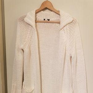 J crew cream Long open cardigan cardi chunky knit